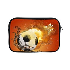 Soccer With Fire And Flame And Floral Elelements Apple iPad Mini Zipper Cases