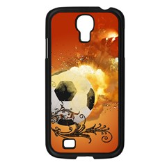 Soccer With Fire And Flame And Floral Elelements Samsung Galaxy S4 I9500/ I9505 Case (Black)