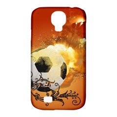 Soccer With Fire And Flame And Floral Elelements Samsung Galaxy S4 Classic Hardshell Case (PC+Silicone)