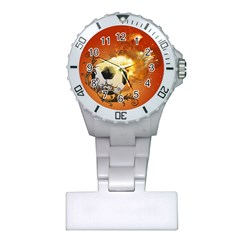 Soccer With Fire And Flame And Floral Elelements Nurses Watches