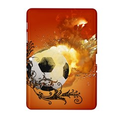 Soccer With Fire And Flame And Floral Elelements Samsung Galaxy Tab 2 (10.1 ) P5100 Hardshell Case