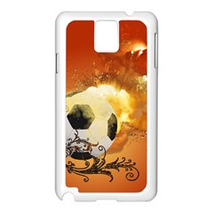 Soccer With Fire And Flame And Floral Elelements Samsung Galaxy Note 3 N9005 Case (White)