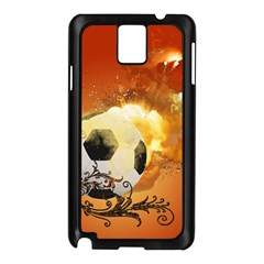 Soccer With Fire And Flame And Floral Elelements Samsung Galaxy Note 3 N9005 Case (Black)
