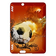 Soccer With Fire And Flame And Floral Elelements Kindle Fire HDX Hardshell Case