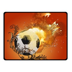 Soccer With Fire And Flame And Floral Elelements Double Sided Fleece Blanket (small)