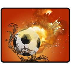 Soccer With Fire And Flame And Floral Elelements Double Sided Fleece Blanket (medium)