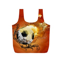 Soccer With Fire And Flame And Floral Elelements Full Print Recycle Bags (s)