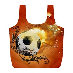 Soccer With Fire And Flame And Floral Elelements Full Print Recycle Bags (L)