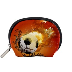 Soccer With Fire And Flame And Floral Elelements Accessory Pouches (Small)