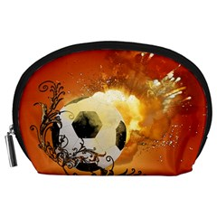 Soccer With Fire And Flame And Floral Elelements Accessory Pouches (Large)