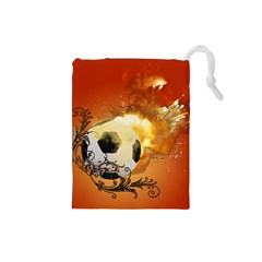 Soccer With Fire And Flame And Floral Elelements Drawstring Pouches (Small)