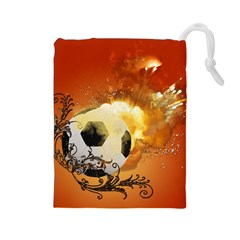 Soccer With Fire And Flame And Floral Elelements Drawstring Pouches (Large)