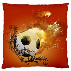 Soccer With Fire And Flame And Floral Elelements Large Flano Cushion Cases (One Side)