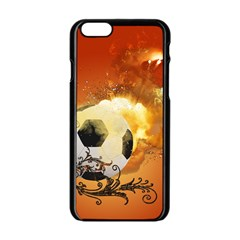 Soccer With Fire And Flame And Floral Elelements Apple iPhone 6/6S Black Enamel Case
