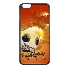 Soccer With Fire And Flame And Floral Elelements Apple Iphone 6 Plus/6s Plus Black Enamel Case