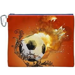 Soccer With Fire And Flame And Floral Elelements Canvas Cosmetic Bag (XXXL)