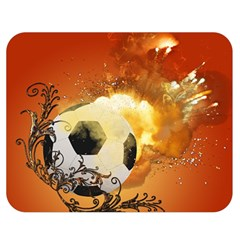 Soccer With Fire And Flame And Floral Elelements Double Sided Flano Blanket (medium)