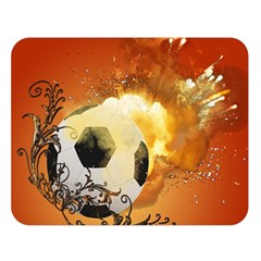 Soccer With Fire And Flame And Floral Elelements Double Sided Flano Blanket (Large)