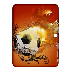 Soccer With Fire And Flame And Floral Elelements Samsung Galaxy Tab 4 (10.1 ) Hardshell Case
