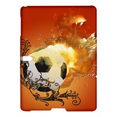 Soccer With Fire And Flame And Floral Elelements Samsung Galaxy Tab S (10.5 ) Hardshell Case