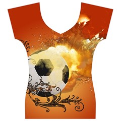 Soccer With Fire And Flame And Floral Elelements Women s V-Neck Cap Sleeve Top
