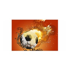 Soccer With Fire And Flame And Floral Elelements Satin Wrap