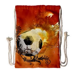 Soccer With Fire And Flame And Floral Elelements Drawstring Bag (Large)