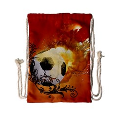 Soccer With Fire And Flame And Floral Elelements Drawstring Bag (Small)