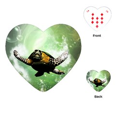 Beautiful Seaturtle With Bubbles Playing Cards (Heart)
