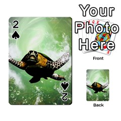 Beautiful Seaturtle With Bubbles Playing Cards 54 Designs