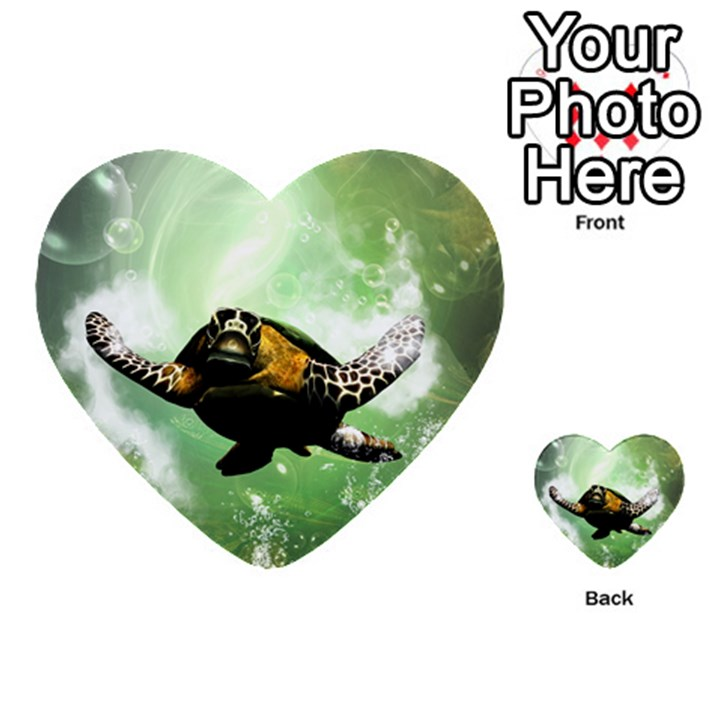 Beautiful Seaturtle With Bubbles Multi-purpose Cards (Heart)