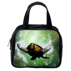 Beautiful Seaturtle With Bubbles Classic Handbags (One Side)