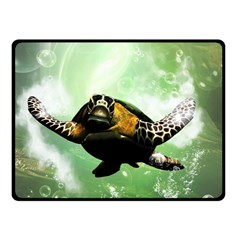 Beautiful Seaturtle With Bubbles Fleece Blanket (Small)