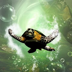 Beautiful Seaturtle With Bubbles Magic Photo Cubes