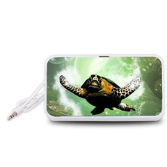 Beautiful Seaturtle With Bubbles Portable Speaker (White)
