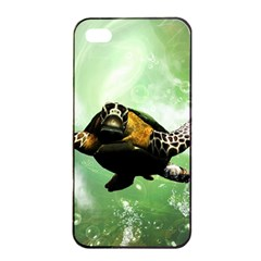 Beautiful Seaturtle With Bubbles Apple Iphone 4/4s Seamless Case (black)