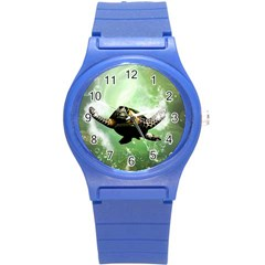 Beautiful Seaturtle With Bubbles Round Plastic Sport Watch (S)