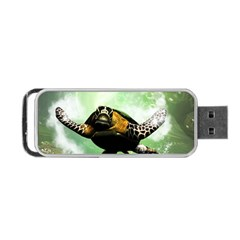 Beautiful Seaturtle With Bubbles Portable Usb Flash (two Sides)