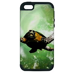 Beautiful Seaturtle With Bubbles Apple iPhone 5 Hardshell Case (PC+Silicone)