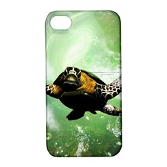 Beautiful Seaturtle With Bubbles Apple iPhone 4/4S Hardshell Case with Stand