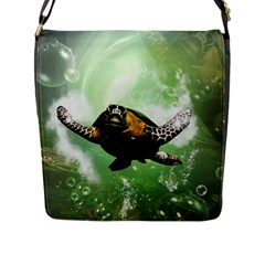 Beautiful Seaturtle With Bubbles Flap Messenger Bag (L)