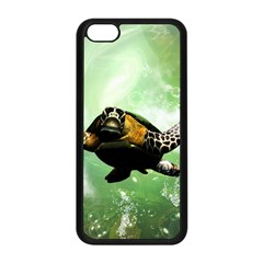 Beautiful Seaturtle With Bubbles Apple iPhone 5C Seamless Case (Black)