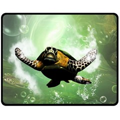 Beautiful Seaturtle With Bubbles Double Sided Fleece Blanket (medium)