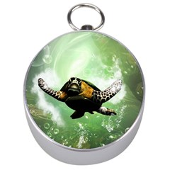 Beautiful Seaturtle With Bubbles Silver Compasses