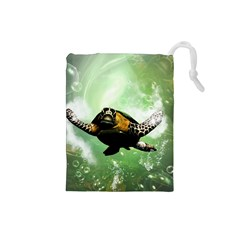 Beautiful Seaturtle With Bubbles Drawstring Pouches (Small)