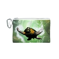 Beautiful Seaturtle With Bubbles Canvas Cosmetic Bag (S)