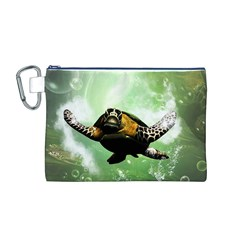 Beautiful Seaturtle With Bubbles Canvas Cosmetic Bag (M)