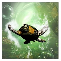 Beautiful Seaturtle With Bubbles Large Satin Scarf (square)
