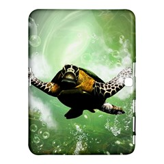 Beautiful Seaturtle With Bubbles Samsung Galaxy Tab 4 (10.1 ) Hardshell Case