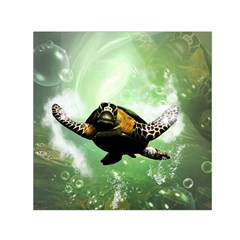 Beautiful Seaturtle With Bubbles Small Satin Scarf (square)